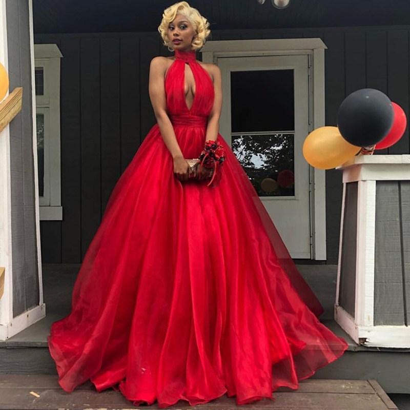 Long Red Prom Dresses 2019 Elegant High Neck Sleeveless Plus Size Backless African Women Organza Prom Dress Free Shipping