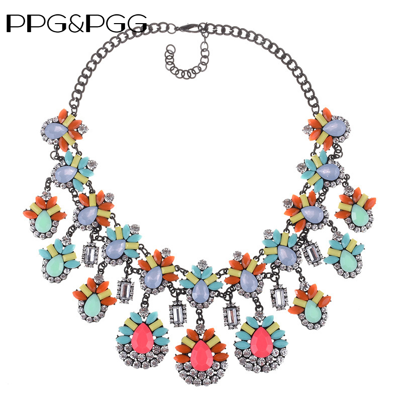 PPG&PGG Luxury Design Layered Chunky Crystal Statement Necklace Long Chain High Quality Choker Collar Gems Necklaces