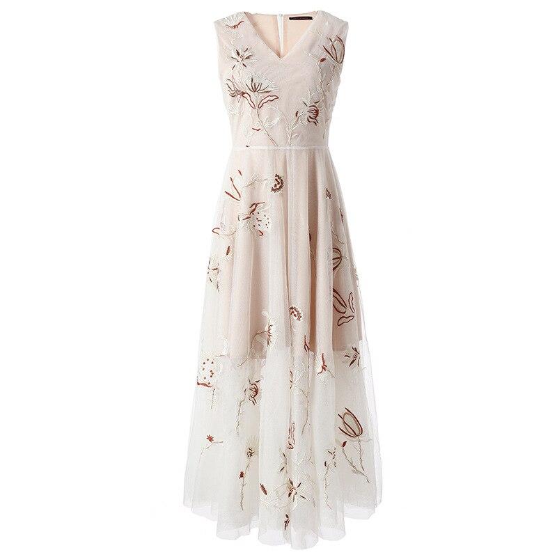 Nouvelle robe en mousseline de soie sans manches été col en v blanc gaze broderie fermée posé un mot robe E0643 dans la taille