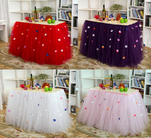 1PCS 91.5*80cm DIY Tulle Tutu Table Skirt Rose Petal skirting Baby Shower Birthday Banquet Wedding Decoration