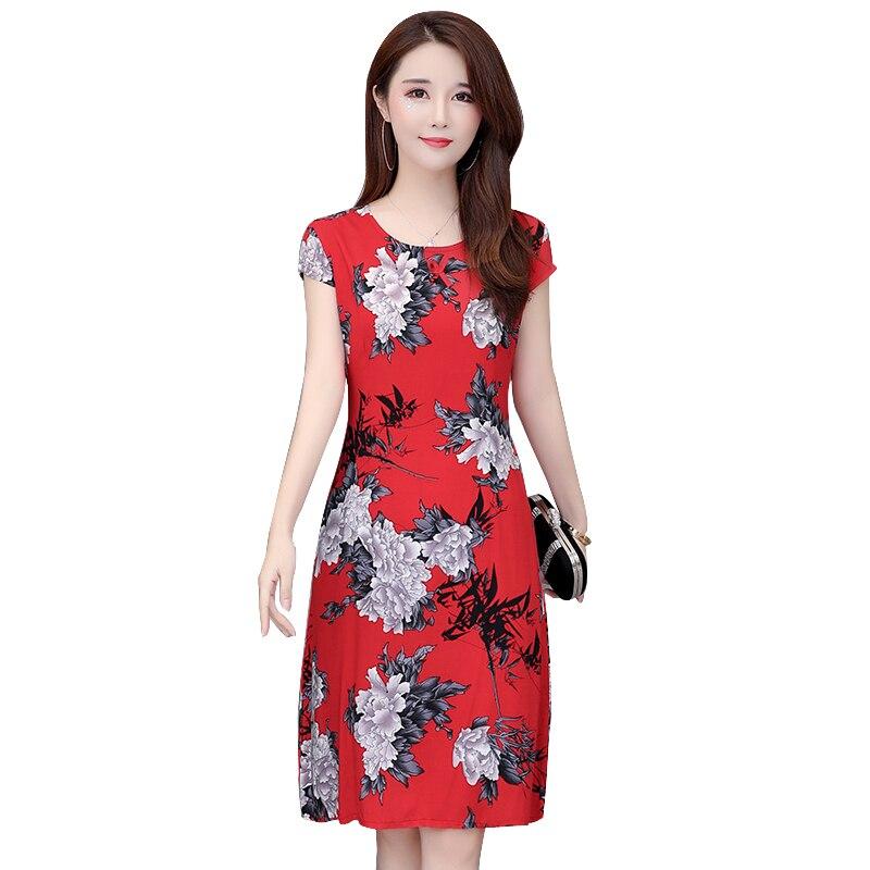 dc0a47a53f9f6e8 Летнее платье женское 2019 модное с коротким рукавом с круглым вырезом  повседневное женское платье Винтаж цветочный