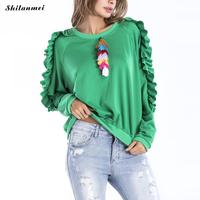 Ukraine Ruffle Women Blouses Retro Fashion Women Shirt Ladies Tops Green Pink Back Christmas Party Tops with Gothic tassel xl