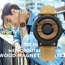 EUTOUR Magnetic Watch Men Luxury minimalist Novelty Wood Dial Scaleless Leather Fashion Waterproof Mens Couple Quartz Watches