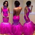 Alto Cuello de La Sirena Vestidos de Baile 2016 Sexy espalda Abierta vestido de Fiesta vestido de la Longitud del Piso Con Cuentas Del Partido Del Organza Vestidos de Noche Vestido De Festa