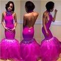 Gola alta Sereia Vestidos de Baile 2016 Sexy Abrir voltar Prom vestido Até O Chão Frisada Organza Partido Vestidos de Noite Vestido De Festa