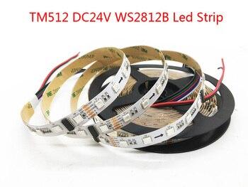 TM512 WS2812B RGB LED Strip 60 LED/M Putih PCB IP30 IP67 Break-Point Terus Menerus Transmisi Fleksibel LED lampu Tape Pita 24 V