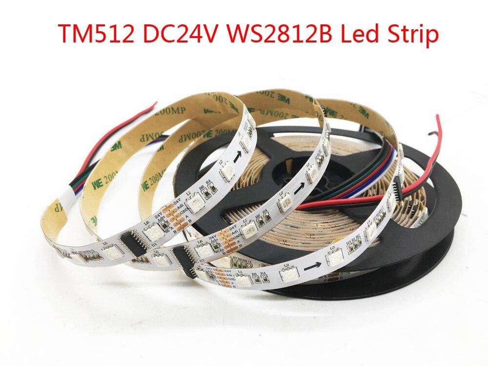 TM512 WS2812B RGB Led Bande 60leds/m Blanc PCB IP30 IP67 Break Point Continu Transmission Flexible lumière Led Ruban 24 V