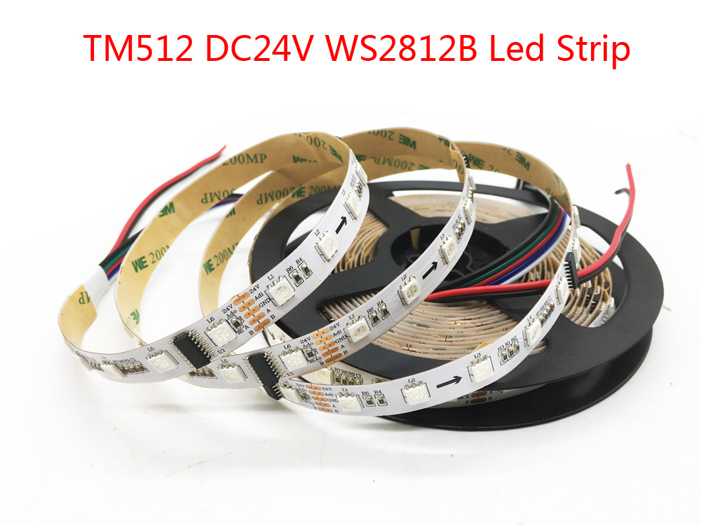 TM512 WS2812B RGB Led Bande 60leds/m Blanc PCB IP30 IP67 Break Point Continu Transmission Flexible lumière Led Ruban 24 V