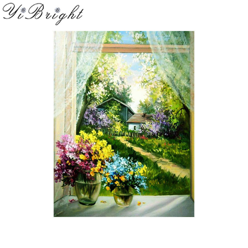 DIY 5d diamond Embroidery flowers diamond Mosaic Picture scenery Windows Round Rhinestones Diamond painting cross stitch Kits
