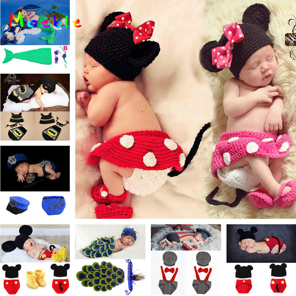 Mickey Design Baby Girl Crochet Foto Props Strikkad Baby Hat Kjol PANTS Shoes Set Nyfödd Fotografi Kostym 1set MZS-14109