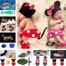 Mickey Design Baby Girl Crochet Photo Props Knitted Baby Hat Skirt PANTS Shoes Set Newborn Photography Costume 1set MZS-14109