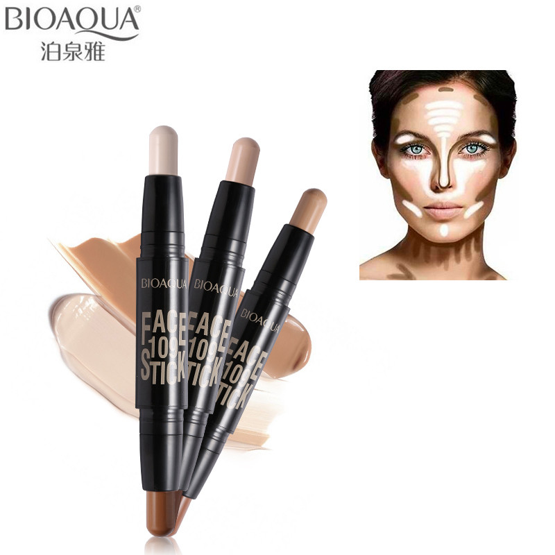 BIOAQUA Brand Double Head 3D Bronzer Highlighter Stick Face Makeup Concealer Pen Foundation Stick Cream Texture Contour Pencil