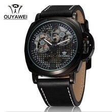 Скелет механические часы мужчины Новый бренд OUYAWEI кожаный ремешок автоматические часы мужчины водонепроницаемый с оригинальной подарочной коробке