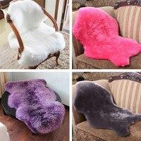 Fashion Soft Sheepskin Chair Cover Warm Hairy Carpet Seat Pad Plain Skin Fur Plain Fluffy Area Rugs Washable Bedroom Faux Mat