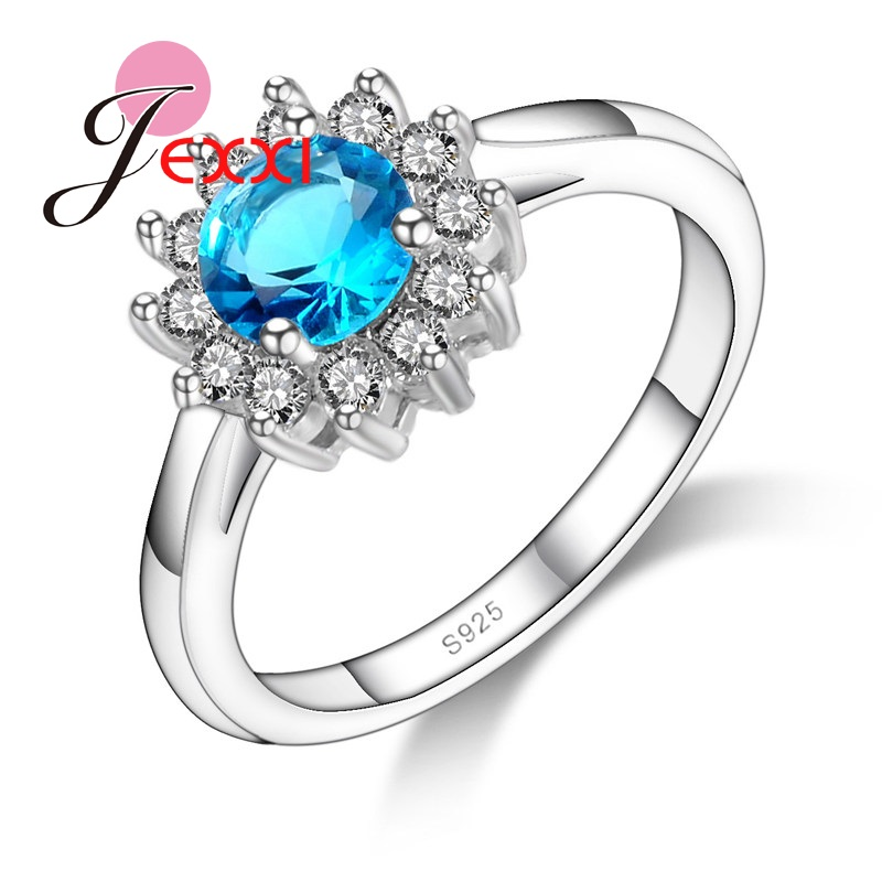 JEXXI Beautiful Flower Clear Ocean Blue Crystal Centered Woman Finger Jewelry Elegant Lady Wedding Engagement 925 Silver Ring