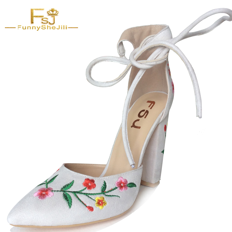 NEW Elegant Embroider White Suede Womens Handmade High Square Heel Sandals Closed Toe Ladies Shoes For Party Evening FSJ US 4-16 new arrival lady fashion high heel shoes pointed toe dress shoes elegant flower closed toe party summer evening sandals c131