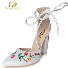 NEW Elegant Embroider White Suede Womens Handmade High Square Heel Sandals Closed Toe Ladies Shoes For Party Evening FSJ US 4-16