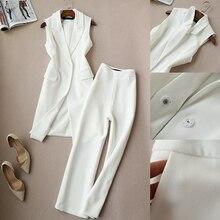 ฤดูใบไม้ผลิและฤดูใบไม้ร่วงใหม่เกาหลีชุดสองชุดเสื้อกั๊กยาวเสื้อกางเกงขากว้างชุดกางเกงเก้าหญิง 2 ชุดผู้หญิง