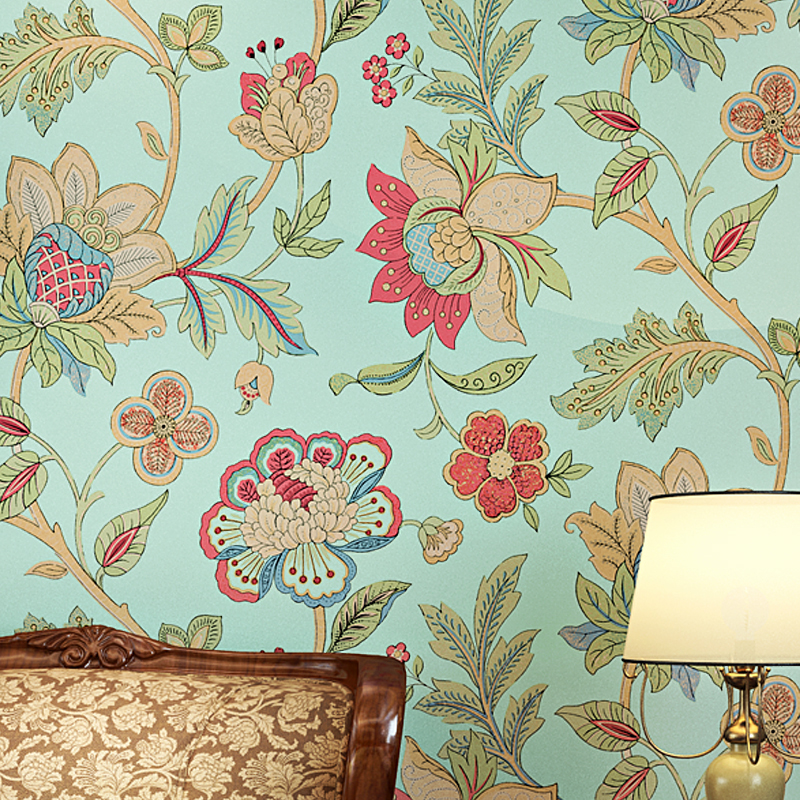 American Style Rustic Wallpaper Roll Light Green Big Floral Non-woven 3D Wall Paper Bedroom Wallpapers Flower Wall Decals
