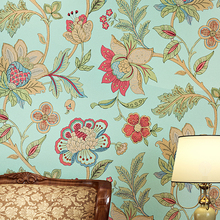 American Style Rustic Wallpaper Roll Light Green Big Floral Non-woven 3D Wall Paper Bedroom Wallpapers Flower Decals