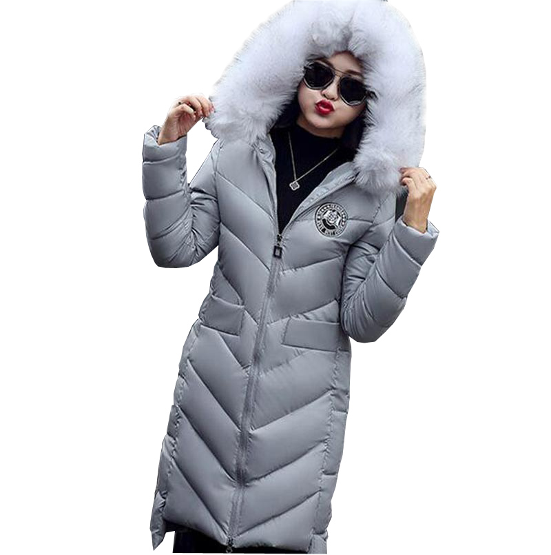 fashion new winter cotton-padded jacket thickening faux fur collar warm coats slim hooded plus size female outerwear kp0765 2017 new autumn winter cotton coats women vintage print long hooded thickening cotton padded jacket warm overcoat plus size z162