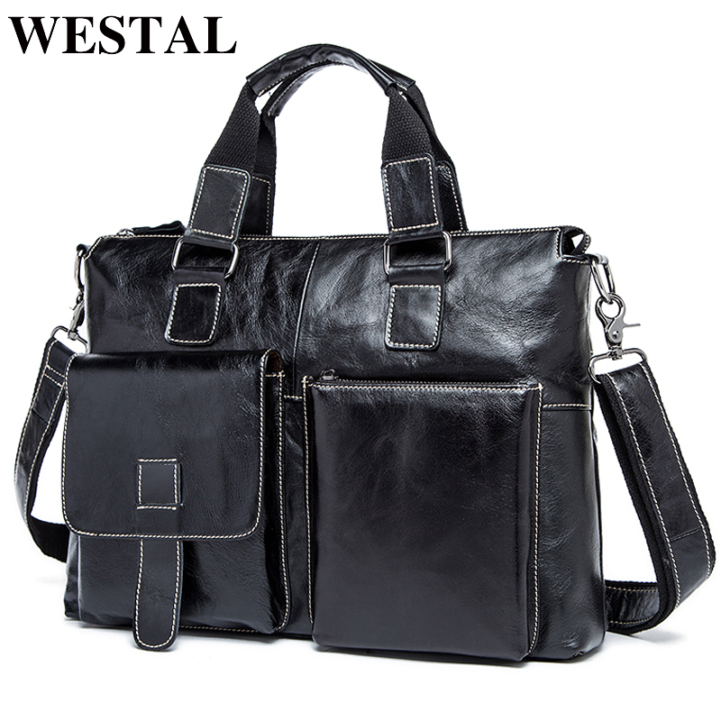 WESTAL Genuine Leather Men's Briefcase Luxury Man Bag Satchel Messenger Bags Men Laptop Vintage Men Briefcase Bag For Dokuments