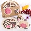 5 pçs/set Caráter Placa arco copo Garfos Colher Dinnerware Conjunto de alimentação do bebê, 100% de fibra de bambu dos desenhos animados talheres set ykd-13