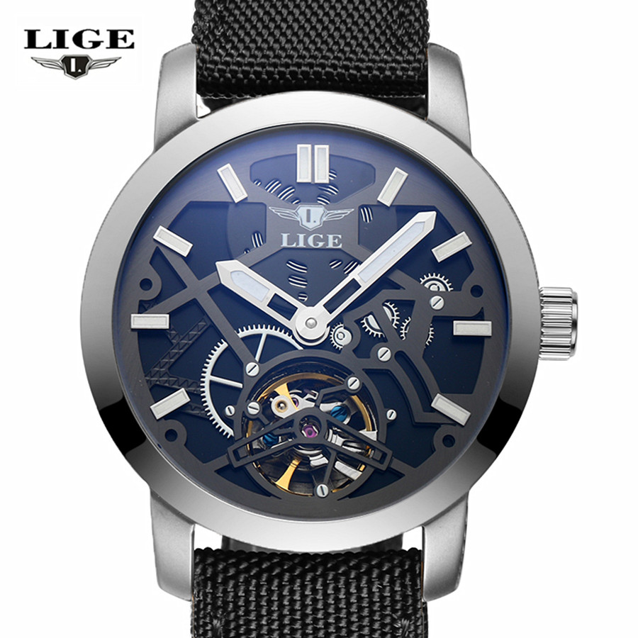 ФОТО LIGE Brand male Fashion Business Wrist Watches Men Leather strap Waterproof Automatic mechanical Watch Mens Clock relojes hombre