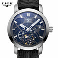 LIGE Brand male Fashion Business Wrist Watches Men Leather strap Waterproof Automatic mechanical Watch Mens Clock relojes hombre