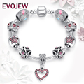 Luxury Brand 925 Trendy Silver Pink Crystal Beads Charm Bracelet Fit Original  for Women Heart Charm DIY Jewerly Christmas Gift