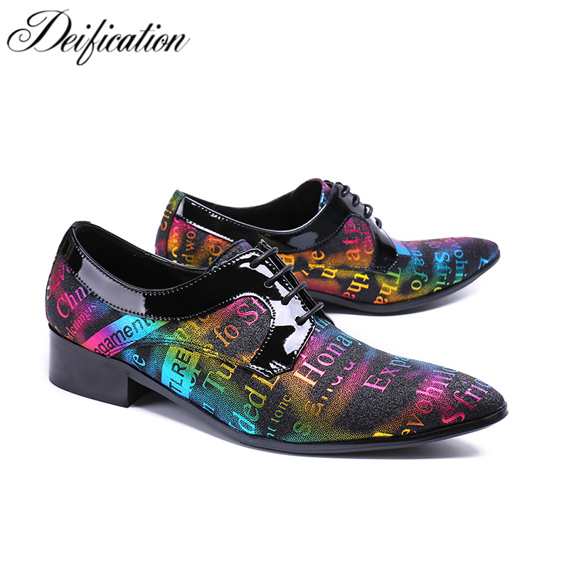 Deification Stylish Elegant Letter Printed Man Dress Shoes Zapatillas Hombre Oxford Shoes For Men Lace-Up Leather Shoes Big Size