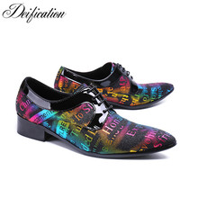 Deification Stylish Elegant Letter Printed Man Dress Shoes Zapatillas Hombre Oxford For Men Lace-Up Leather Big Size