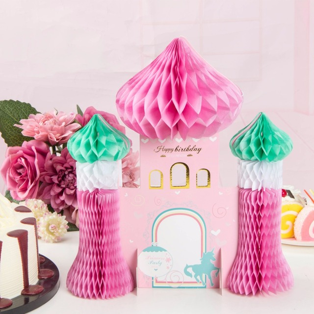 Pink Theme Birthday Party Decorations Kids Princess Castle Honeycomb For Home Decor Supplier