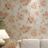 الأوروبي خمر النمط الرعوي الأزهار ورق الحائط 3d زهرة عميق تنقش pvc الفينيل ورق الحائط لفة للبنات غرفة
