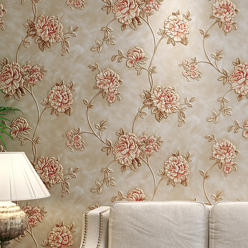 europea estilo vintage pastoral floral fresco papel pintado para la pared d flor profundo relieve pvc