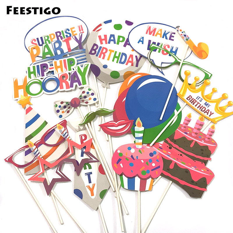 FEESTIGO 18pcs/set Happy Birthday Party Photobooth Props Cake Hats Crown Photo Booth Girls Boys Brithday Party Games Favors