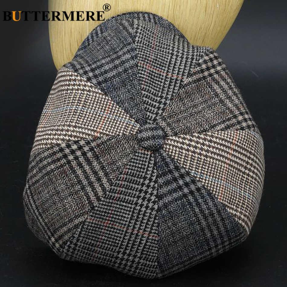Buttermere Plaid Tukang Koran Topi Pria Wol Houndstooth Topi Datar Pria Merek Desain Duckbill Musim Gugur Musim Dingin Pelukis Oktagonal Topi