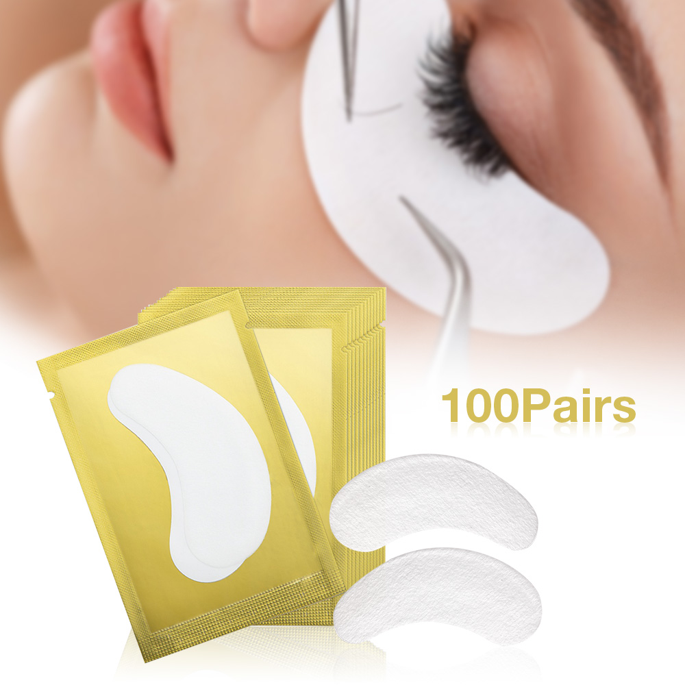 HTB1TSfvRSzqK1RjSZFpq6ykSXXa6 100pairs/pack New Paper Patches Eyelash Under Eye Pads Lash Eyelash Extension Hydrating Eye Tips Sticker Wraps Make Up Tools