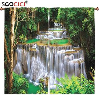 Window Curtains Treatments 2 Panels,Waterfall Decor Collection Stunning View of Waterfall in Kanjanaburi Stream Crossing Forest