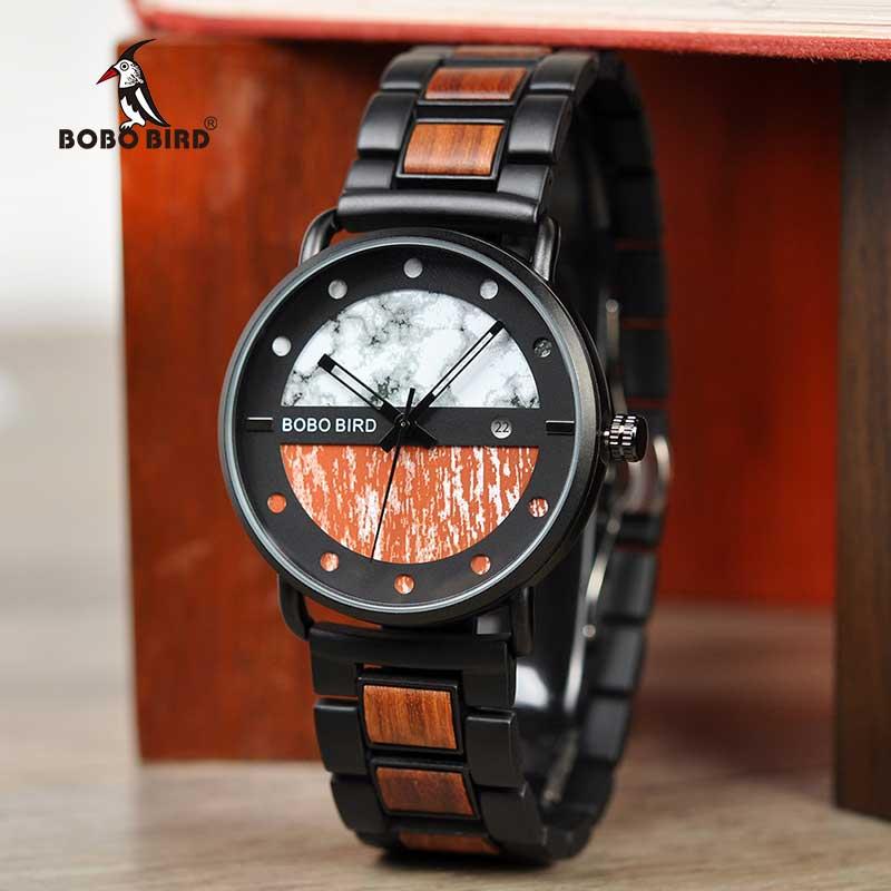Erkek kol saati BOBO OISEAU Hommes montre en bois De Luxe Quartz Montres Chronographe Montre-Bracelet Militaire avec cadeau Boîte En Bambou V-R30/S01