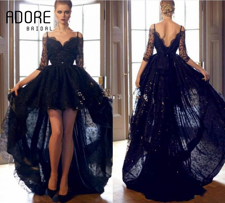Zuhair Murad 2017 Black Sexy Lace Evening Dress Backless Appliques  Spaghetti Strap Half Sleeves High Low Formal Pageant Gown-in Evening Dresses  from ... 7a38e321dc49