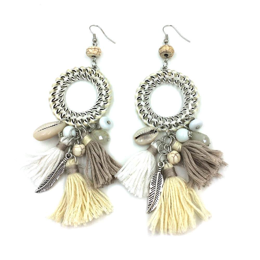 Neue ethnische böhmische baumeln Ohrringe mit Baumwollquaste-bunten - Modeschmuck - Foto 5
