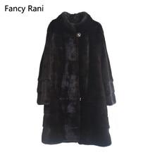 Настоящая норковая шуба воротник Мандарин толстый теплый натуральный мех Полный Пелт натуральный мех длинная куртка женская зимняя одежда на заказ