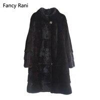 Натуральный мех норки пальто воротник-стойка толстые теплые из натурального меха полным ходом натуральным мехом длинная куртка Для женщин ...
