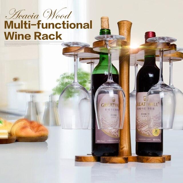 Wood Whisky Bottle Holder Ideas: Creative Acacia Wood Bar Beer Wine Rack, Wine Holder, Wine
