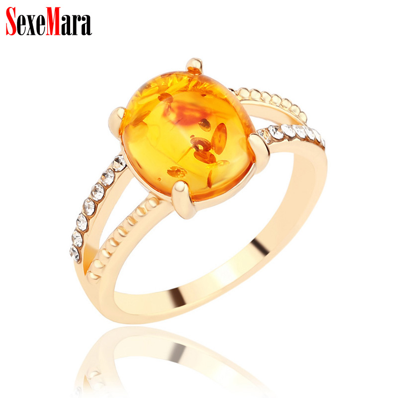 SexeMara Women Ring Antique Rhinestone Orange Resin Vintage Alloy Plated Gold Silver Finger Rings for Female Lady Retro Jewelry