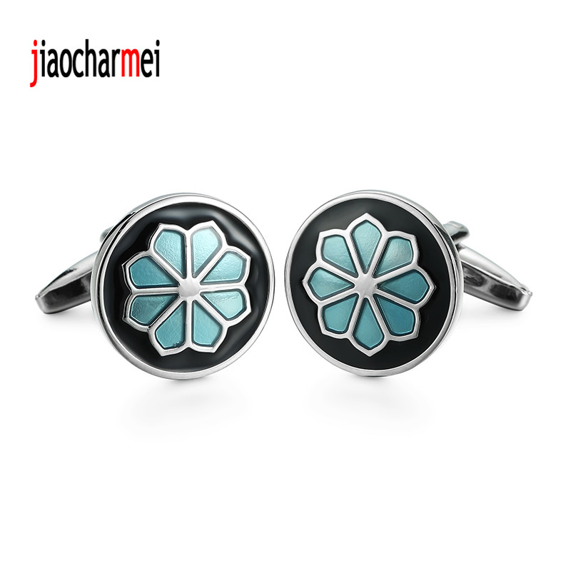 The high-end men's shirts Cufflinks new fashion boutique brass blue flower cufflinks, senior lawyer clothing accessories