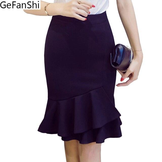 c8e920472 S-5XL 2019 nueva Alta cintura volantes sirena falda elegante Falda Mujer  Faldas Sexy moda