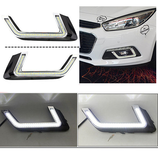 ФОТО Car Styling For Chevrolet Cruze 2015 Daytime Running Light 12V 6000k DRL LED CAR lights refit, with fog lamp hole, Free shipping