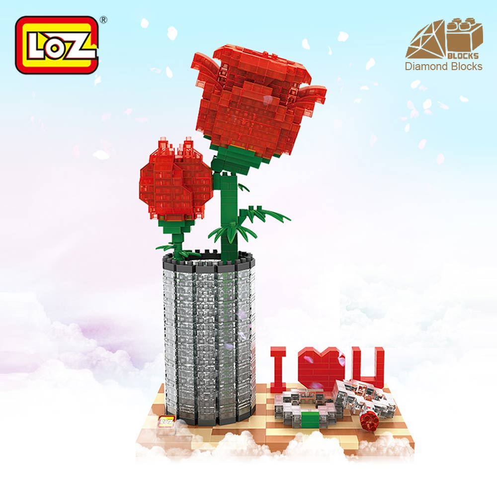 Mr.Froger LOZ classic creator series crystal rose diamond block Valentine's day roses gift plastic flower Building Blocks toys loz mini diamond block world famous architecture financial center swfc shangha china city nanoblock model brick educational toys